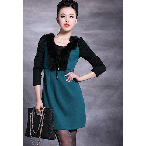 Elegant Scoop Neck Color Splicing Furry Collar Long Sleeves Sequin Embellished Polyester Women's Dress - GREEN XL