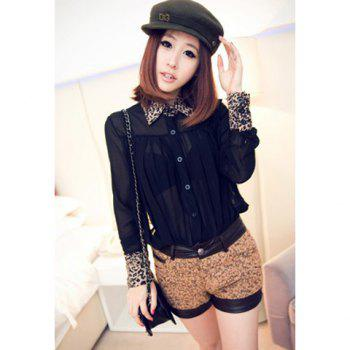 Trendsetter Polo Neck Leopard Print Splice Pleated Design Long Sleeve Loose Fit Chiffon Women's Blouse - BLACK ONE SIZE