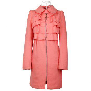 Charming Turndown Collar Flouncing Zipper Puff Sleeve Women's Coat