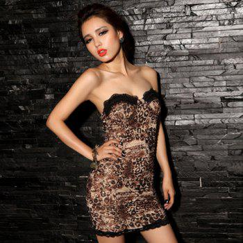 Gorgeous Lace Hem Sweetheart Neckline Strapless Leopard Women's Club Dress