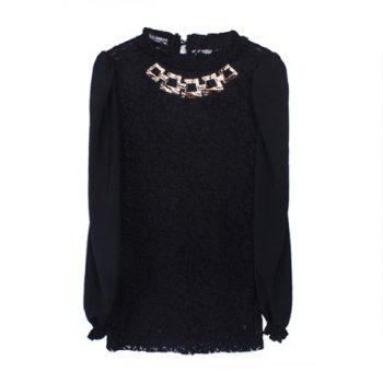 Palace Style Stand Neck Long Sleeves Chiffon Splicing Metallic Necklace Lace Women's T-Shirt - BLACK BLACK