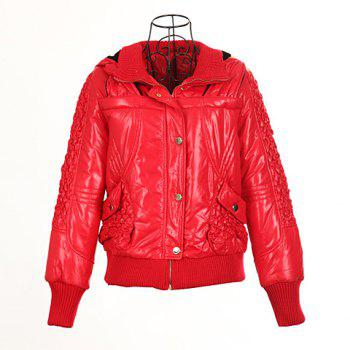 Modern Style Hooded Woolen Yarn Splicing Double Collar Long Sleeves PU Leather Women's Padded Jacket