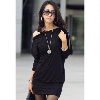 Long Zipper Embellished Long Sleeve T-Shirt - BLACK ONE SIZE