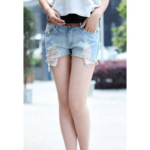 Classic Broken Hole Flag Pattern Pocket Bleach Wash Women's Denim Shorts - BLUE L