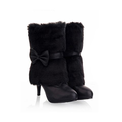 Sweet Lace-Up and Pure Color and Imitation Fur Design Women's Short Boots - BLACK 37