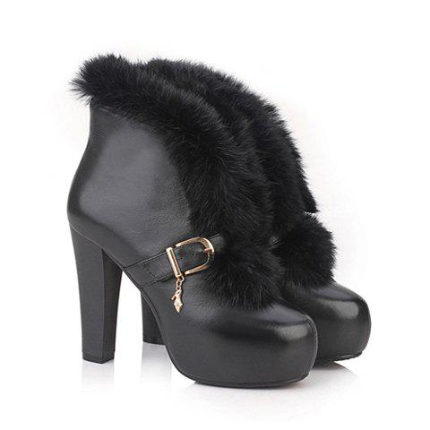 Party Pure Color and Imitaiton Fur and Chunky Heel Design Women's Short Boots - BLACK 38