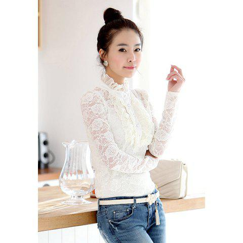 Elegant high neck ruffle hem solid color long sleeve slimming lace