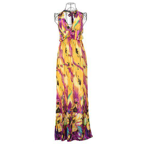 Ethnic Style Keyhole Neckline Rayon Colorful Maxi Dress For Women - YELLOW ONE SIZE