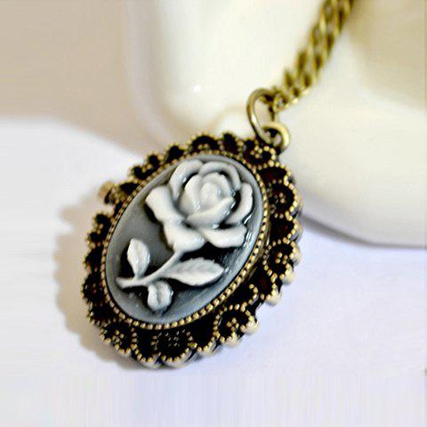 Sweet Elegant Style Carved Rose Flower Pattern Oval Pocket Watch Pendant Sweater Chain For Women - AS THE PICTURE