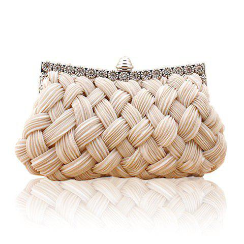 Wedding Weaving and Pure Color Design Women's Evening Bag - APRICOT