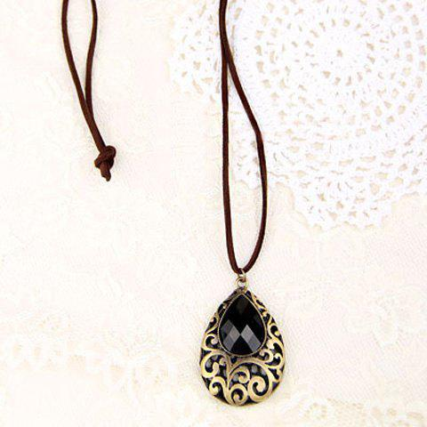 Exquisite Ethnic Style Openwork Crystal Inlaid Carved Flower Pattern Pendant Sweater Chain For Women - AS THE PICTURE