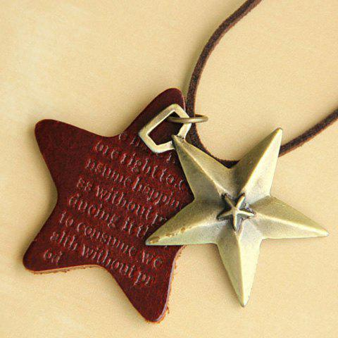 Retro Fashion Style Multi-Layered Five-Point Star Shape Pendant Sweater Chain For Women