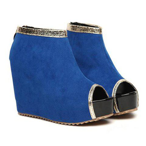 Stylish Peep Toe and Suede Design Women's Ankle Boots - SKY BLUE 39