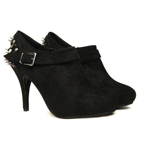 Party Rivet and Buckle Design Stiletto Heel Women's Ankle Boots - BLACK 36