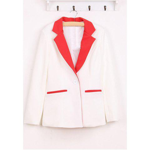 Graceful Lapel Single Button Long Sleeve Women's Blazers - RED US 8
