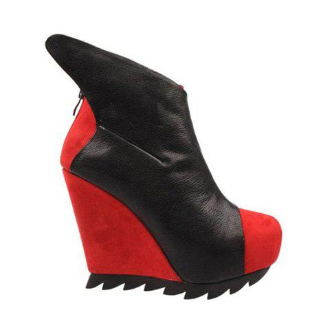 Party Color Block and Suede Design Wedge Heel Women's Short Boots - RED 35