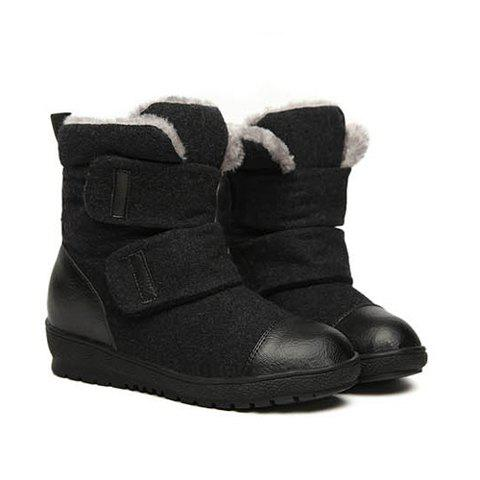 Stylish Style Casual Splicing and Magic Tape Design Women's Short Boots - 35 BLACK