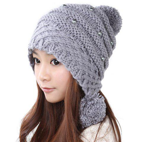 Sweet Hot Sale Style Solid Color Pearl Embellished Knitted Women's Woolen Yarn Hat With Warmmer Pompon - GRAY