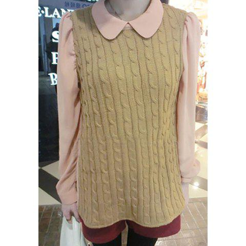 Sweet Polo Neck Solid Color Twist Stripe Long Sleeve Cotton Blend Women's Faux Twinset - AS THE PICTURE ONE SIZE