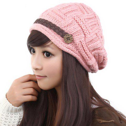 Hot Sale Sweet Style Solid Color Button Embellished Knitted Woolen Yarn Warmmer Hat For Women - PINK