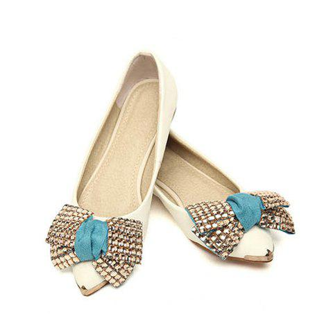 Stylish Style Casual Color Matching Faux Rhinestone and Bowknot Design Women's Flat Shoes - WHITE 36