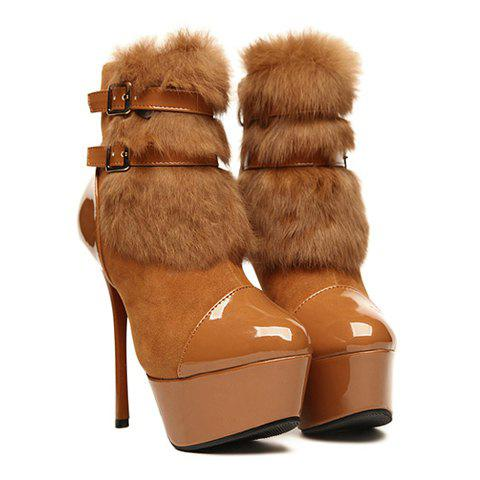 Party Suede Stiletto Heel Belts and Cony Hair Design Women's Boots - BROWN 36