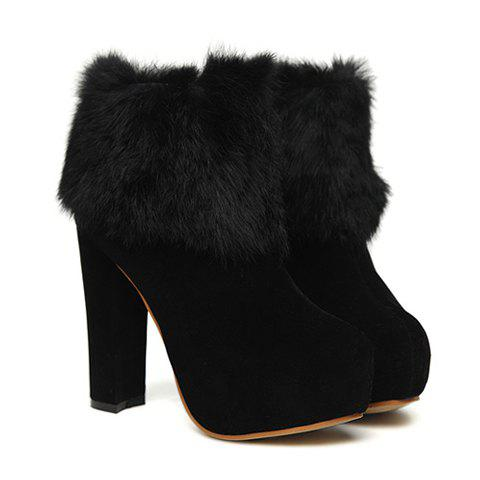 Sexy Laconic Party Solid Color Chunky Heel and Imitation Fur Design Women's Short Boots - BLACK 38