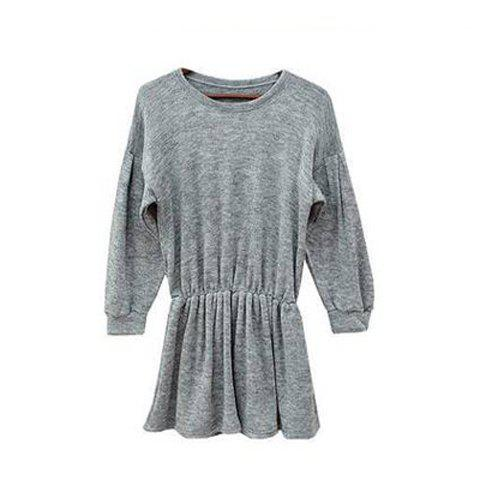 Solid Color Scoop Neck Elastic Waist Women's Long Sleeve Dresses - GRAY ONE SIZE