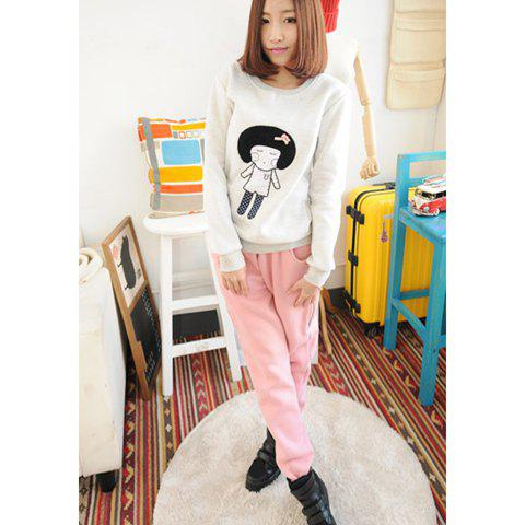 Zip Decorated Solid Color Thicken Fleece Women's Sport Pants - PINK M