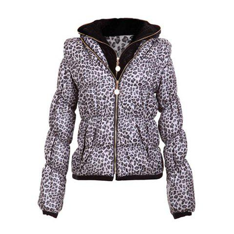 Stylish Hooded Double Collar Leopard Print Long Sleeves Warm And Thicken Cotton Blend Women's Padded Coat - WHITE ONE SIZE