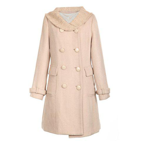 Turndown Collar Elegant Double-Breasted Woolen Fabric Women's Long Coat - APRICOT ONE SIZE