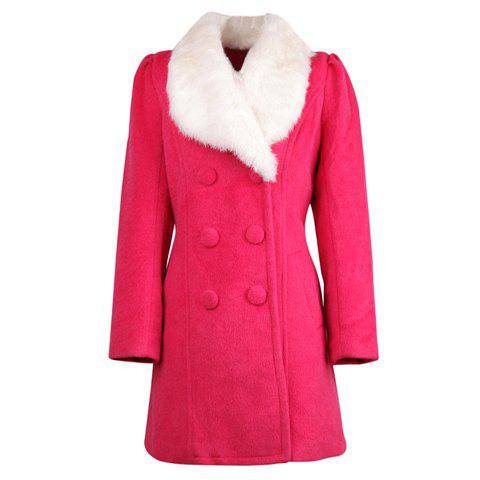 Ladylike Faux Fur Turndown Collar Double-Breasted Puff Sleeve Rose Women's Coat - ROSE ONE SIZE