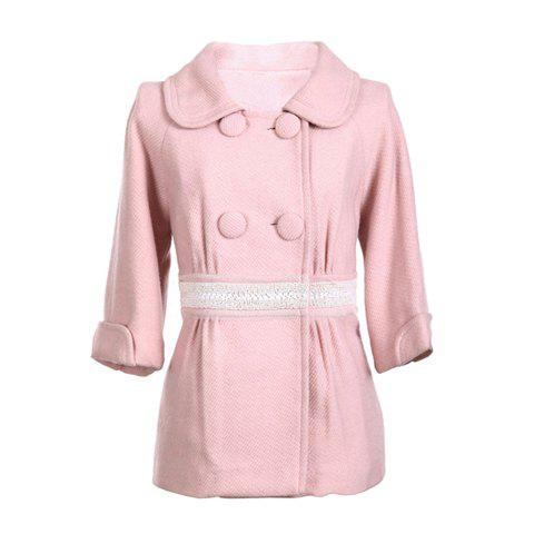 Sweet Polo Neck Double Breasted 3/4 Sleeves Solid Color Fitted Woolen Blend Women's Coat - PINK ONE SIZE