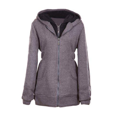 Casual Hooded Double Collar Long Sleeves Solid Color Warm And Thicken Cotton Blend Women's Coat - GRAY ONE SIZE