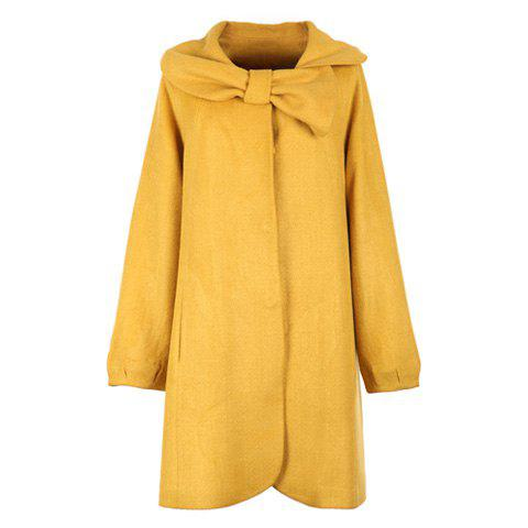 Sweet Polo Neck Bowtie Decorated Collar Solid Color Long Sleeves Single Breasted Woolen Blend Women's Coat - YELLOW ONE SIZE