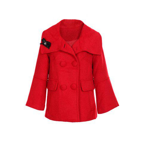 Stylish Polo Neck Double Breasted Long Sleeves Solid Color Flare Cuff Woolen Blend Women's Coat - RED ONE SIZE