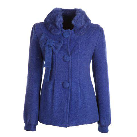 Sweet Stand Neck Furry Collar Long Sleeves Bowtie Decoration Fitted Solid Color Woolen Blend Women's Coat - BLUE ONE SIZE