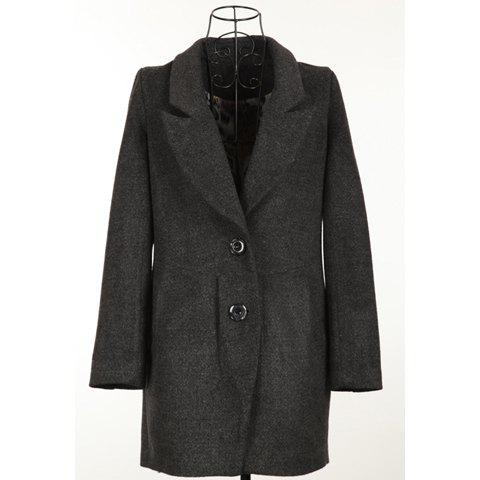 Stylish Lapel Long Sleeves Solid Color Single Breasted Long Style Good Cut Woolen Blend Women's Coat - BLACK ONE SIZE