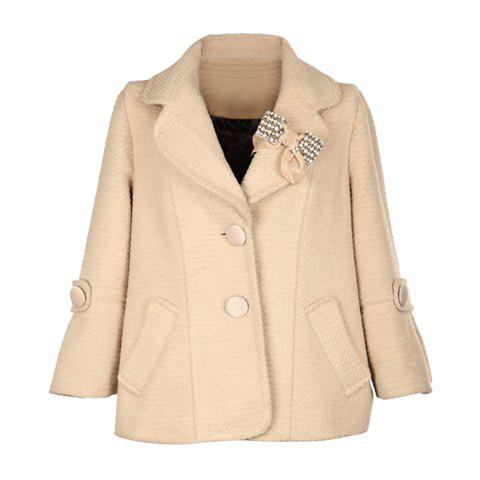 Cute Lapel Long Sleeves Rhinestone And Faux Pearl Embellished Bowtie Decoration Solid Color Woolen Blend Women's Coat