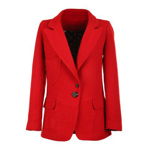 Elegant Lapel Long Sleeves Beautiful Red Faux Gemstone Buttons Woolen Blend Women's Coat