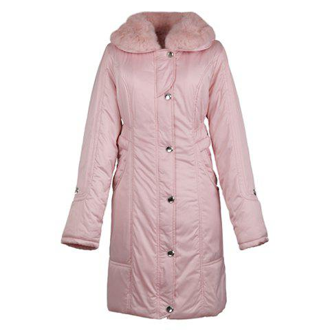Faux Fur Turndown Collar Long Sleeve Solid Color Women's Cotton Padded Coat - PINK ONE SIZE