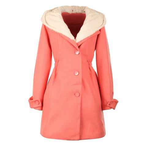 Christmas Style Hooded Furry Hood Long Sleeves Big Hem Single Breasted Cotton Blend Women's Coat - WATERMELON RED ONE SIZE