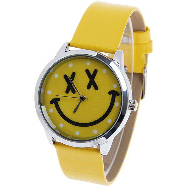 Quartz Watch with Dots Round Dial Leather Watchband for Women (Pink) - YELLOW