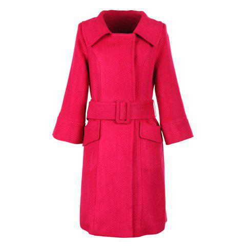 Stylish Polo Neck Long Sleeves Solid Color Belt Design Buttonless Woolen Blend Women's Coat - ROSE ONE SIZE