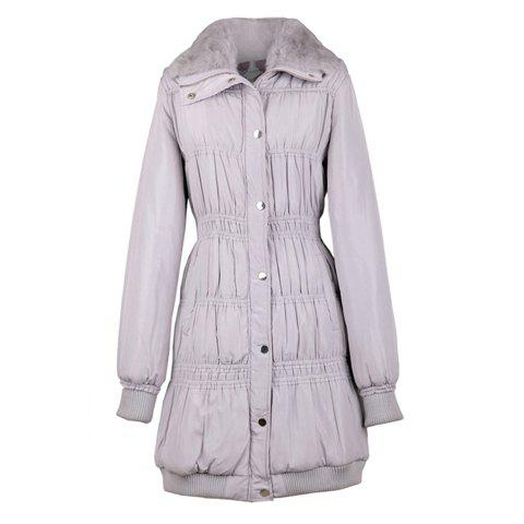 Slimming Turndown Collar Ruffle Long Sleeve Women's Quilted Coat - GRAY ONE SIZE