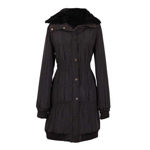 Slimming Turndown Collar Ruffle Long Sleeve Womens Quilted CoatWomen<br><br><br>Size: ONE SIZE<br>Color: BLACK