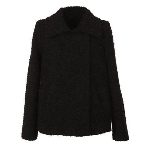 Elegant Style Lapel Snap Fastener Design Long Sleeve Wool Worsted Women's Short Coat - BLACK ONE SIZE