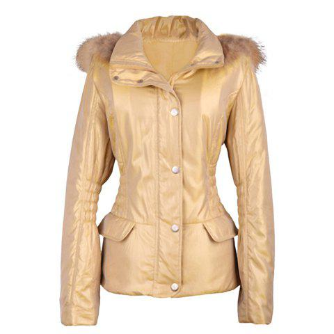 Fashionable Ruffle Slimming Long Sleeve Hooded Women's Wadded Coat