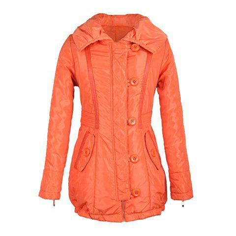 Slim Fit Zip Decorated Lace Up Long Sleeves Hooded Women's Coat - JACINTH ONE SIZE