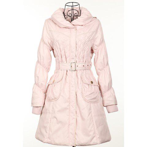 Slim Fit Ladylike Ruffle Hooded Women's Cotton Padded Coat With Belt - APRICOT ONE SIZE